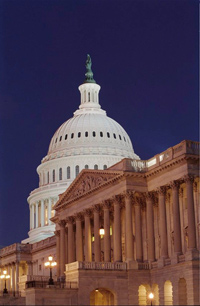 The Capitol dome at night.