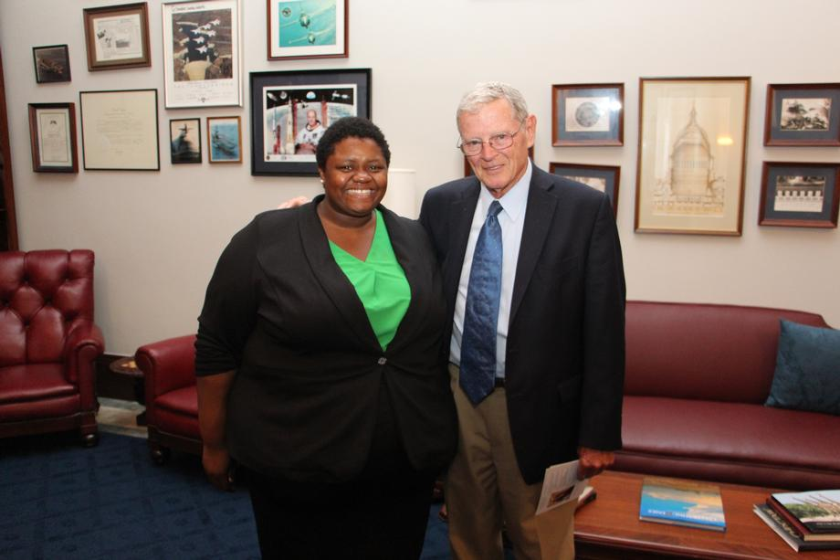 Inhofe Met With Alex Ware A Graduate Student At OSU Tulsa Who Was Participating