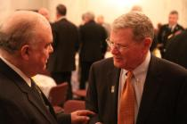 Sen. Inhofe speaks with Dr. Joe Westphal, Undersecretary of the Army at the 2013 Lawton Ft. Sill Chamber of Commerce Breakfast.